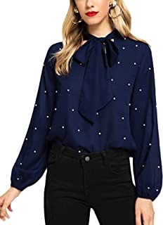 Women's Bow Tie Neck Long Sleeve Blouse Chiffon Tops and Blouses for Office Work