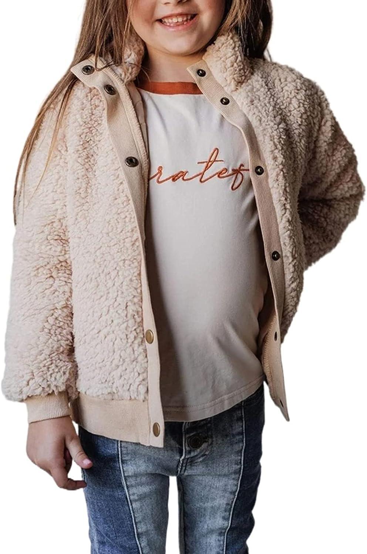Ecokauer Girls Faux Fur Buttoned Sherpa Fleece Jackets Lightweight Winter Coats Warm Outwear