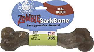 Pet Qwerks Zombie BarkBone, Real Bacon Flavor - Nylon Chew Toy for Aggressive Chewers, Tough Durable Extreme Power Chewer ...
