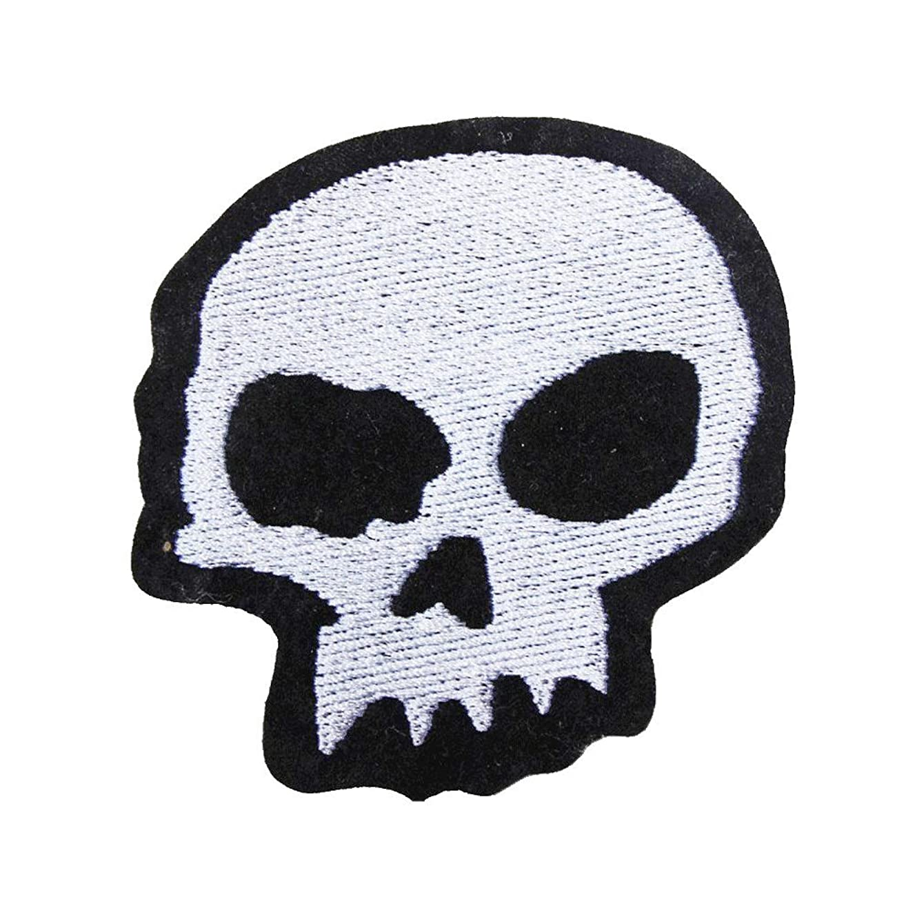 U-Sky Sew or Iron on Patches - Skull Head Motorcycle Patch for Biker Jackets, Jeans, Clothes - Pack of 1pc - Size: 2.9x2.9inch