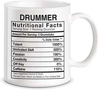 Drummer Gifts Drummer Nutritional Facts Label Percussion Drum Player Funny Novelty Gag Gift for Christmas Birthday Ceramic Coffee Mug Tea Cup