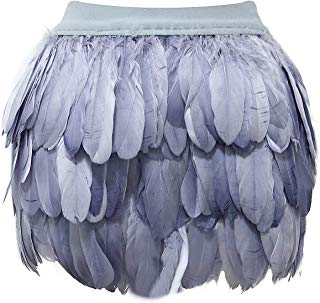 Womens Mid Waist A-line Real Natural Feather Skirt