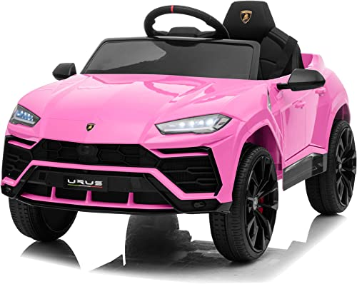 Kidzone 12V 7AH Licensed Lamborghini Urus Kids Ride On Car Electric Vehicle High/Low Speed with Remote Control, Horn, Radio, USB Port, AUX, Spring Suspension, Opening Door, LED Light, Pink