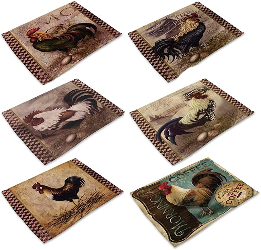 DENTRUN Rooster Cotton Linen Place Mats Set Of 6 Oil Painting Cock Pattern Dining Table Mats Heat Resistant Non Slip Insulation Table Runner For Home Kitchen Office Decor