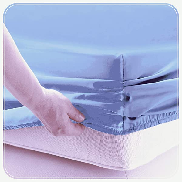 JUWENIN Fitted Sheet Microfiber Brushed Finish Wrinkle Fade Stain Resistant One Fitted Bed Sheet Twin Light Blue