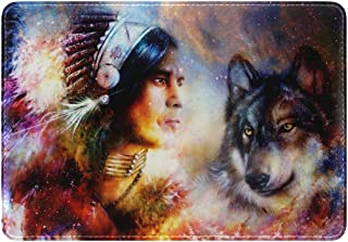 Mydaily Indian Warrior And Wolf Galaxy Leather Passport Holder Cover Case Protector
