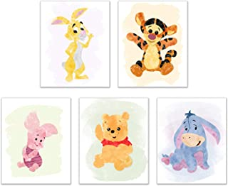 Winnie The Pooh Watercolour Art Nursery Prints (Set of 5 Photos - 8 inches x 10 inches) Piglet Tigger Eeyore Rabbit Childrens Wall Decor