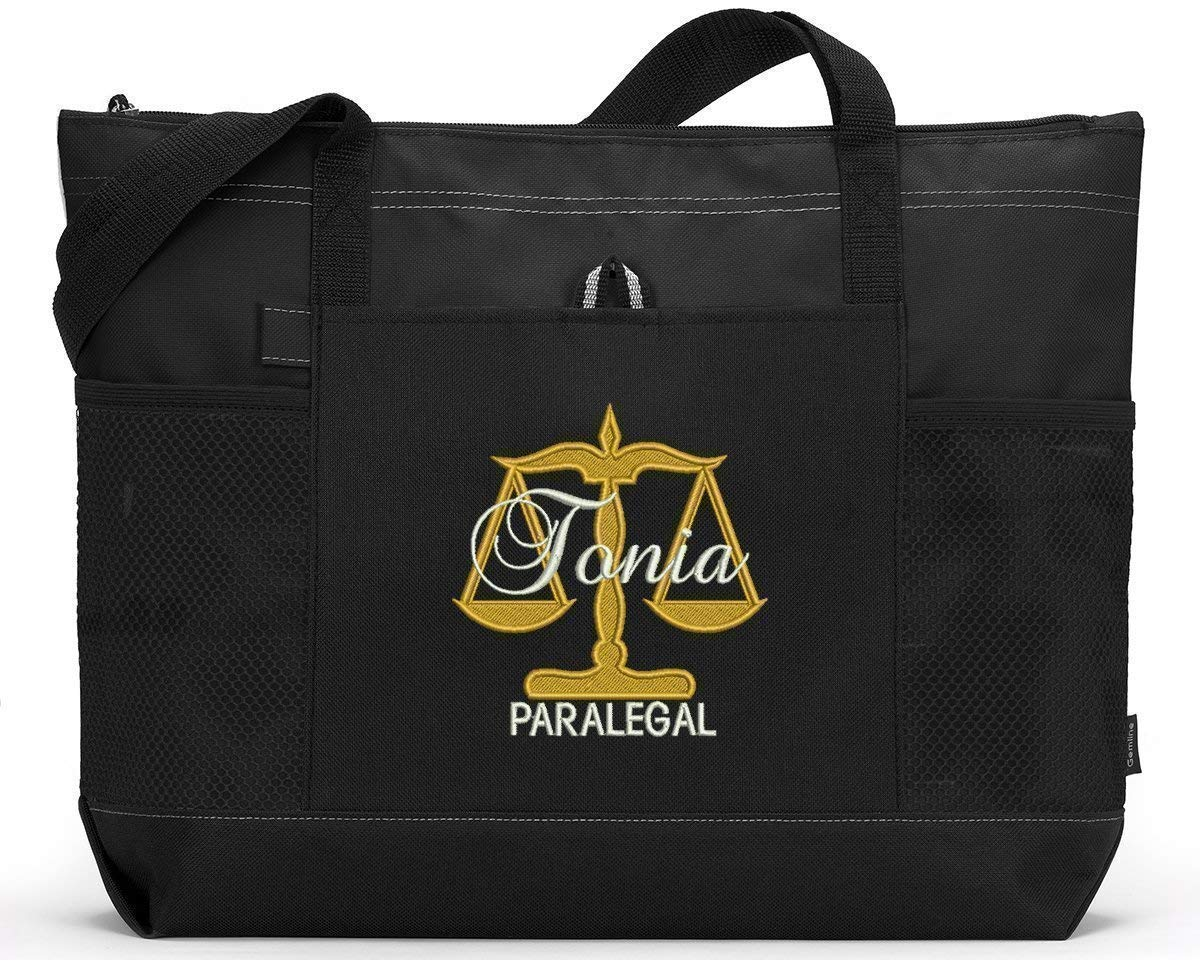 Personalized Paralegal Tote Bargain sale Bag with Pockets Mesh Front Large-scale sale Pocket