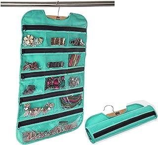 KRIO Designs Fabric Hanging Jewellery Organizer Double Sided (Aqua Green)