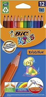 BIC Kids Ecriture Evolution ECOlutions Crayons de Couleur - Mine Résistante - Couleurs Assorties, Etui Carton de 12