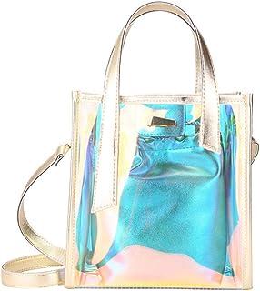 Povanjer Umhängetaschen Damen Laser Style Handtaschen Transparente Umhängetaschen Jelly Candy Strap Damen Tasche