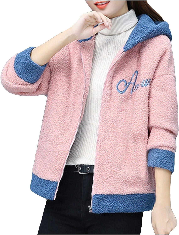 URIBAKE Women Faux Lamb Cashmere Coat Winter Sports Cardigan Hooded Jacket Tops