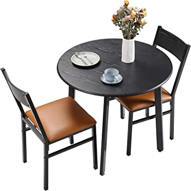 HOMURY 3 Piece Round Dining Table Set with Cushioned Chairs, Modern Counter Height Dinette Set, Small Kitchen Table Set with