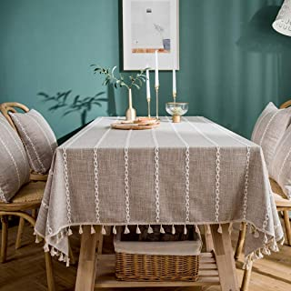LINENLUX Striped Cotton Linen Tablecloth/Table Cover with Tassel Tan Square/Round 55 X 55 in