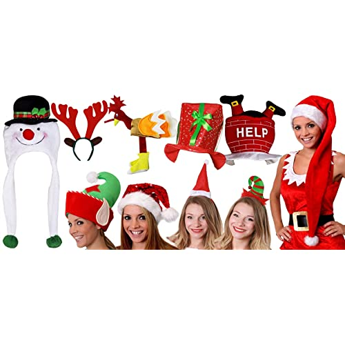 CHRISTMAS HATS PARTY PACK 10 PIECE MENS LADIES XMAS COSTUME FANCY DRESS  ACCESSORY SET LARGE NOVELTY ae8a62b7a7cb