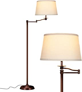 Brightech Caden Swing Arm LED Floor Lamp- Classic Lamp with Extending Arm - Diffusing Lamp Shade - Tall Industrial Uplight for Living Room, Family Room, Office or Bedroom - Bronze