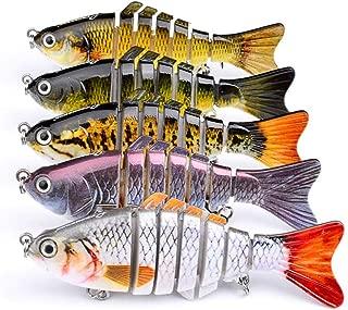 Karin Beckett 5pcs Fishing Bass Lure 7 Segment Multi Jointed Artificial Bait Lifelike Trout Swimbait Treble Crankbait Hooks Hard Fish 10cm/3.93inch