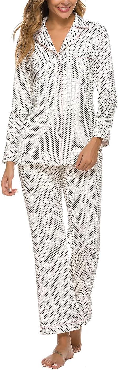 Women's スピード対応 全国送料無料 Pajama Sets Long Sleeve Down Nightwear Sleepwear Button 新作 大人気