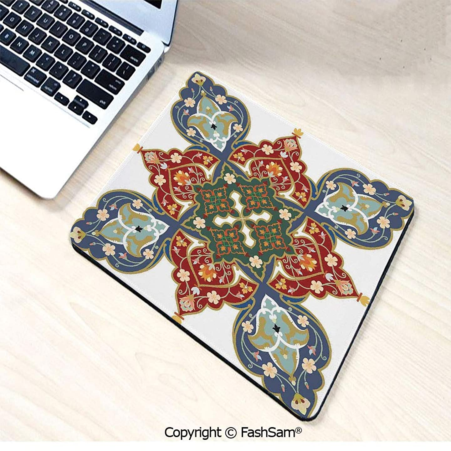 Desk Mat Mouse Pad Turkish Ottoman Arabic Eastern Decor Flowers Moroccan Image for Office(W9.85xL11.8)