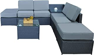 MCombo Outdoor Patio Black Wicker Furniture Sectional Set All-Weather Resin Rattan Chair Conversation Sofas with Water Resistant Cushion Covers 6085-1008A6