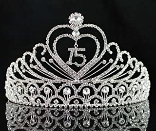 Janefashions Quinceanera Sweet 15 Fifteen 15th Birthday Party coronas de quinceañeras Clear White Austrian Rhinestone Tiara Crown with Hair Combs Princess Silver T1756