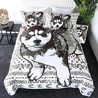 Sleepwish Kids' Duvet Cover Sets 3 Pieces Siberian Husky Puppies Print Comforter Cover for Adults, 3D Cute Animals Decorative Bedding Set, Soft and Breathable (Geometric Dog,Twin)