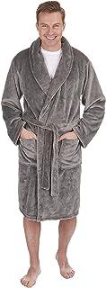 HiA Direct Mens Plain Grey Dressing Gown Shawl Robe Luxury Collar Flannel Super Soft Sleep Wear Bath Robe with Two Pockets...