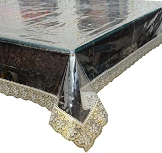 AP$COLLECTION Transparent Dining Table Waterproof Crystal Clear Table Cover with Golden Lace Easy to Clean and Durable (60