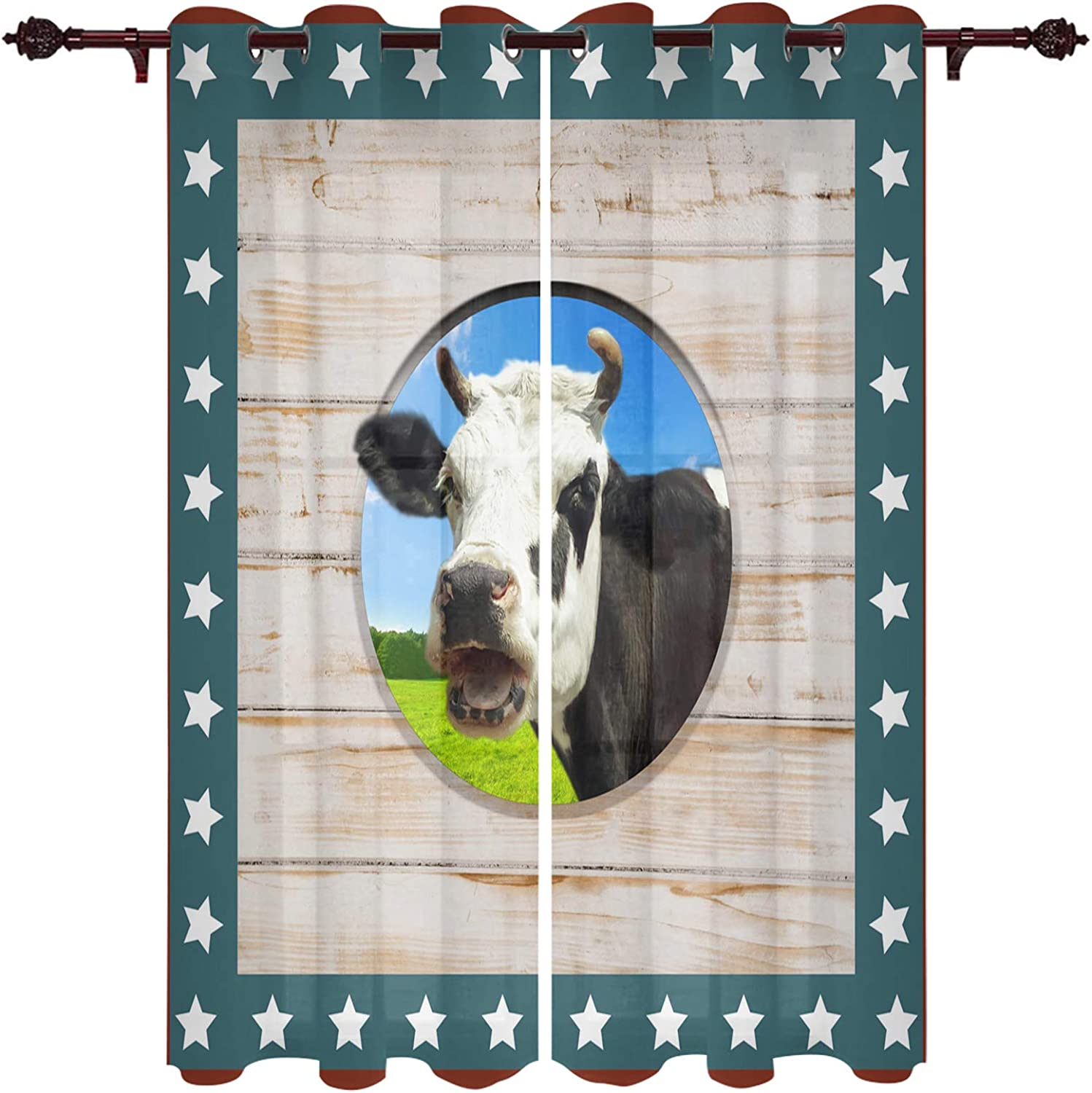 Great interest Window Free shipping New Treatment Sheer Curtains Stars Grain Cow Wood Independenc