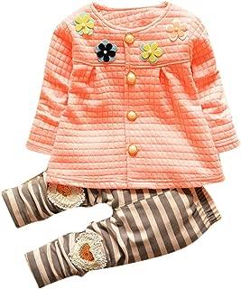 Toraway 2 Pcs/Set Baby Toddler Kids Girls Cotton Flower Cardigan Coat+Long Pants Clothing Sets