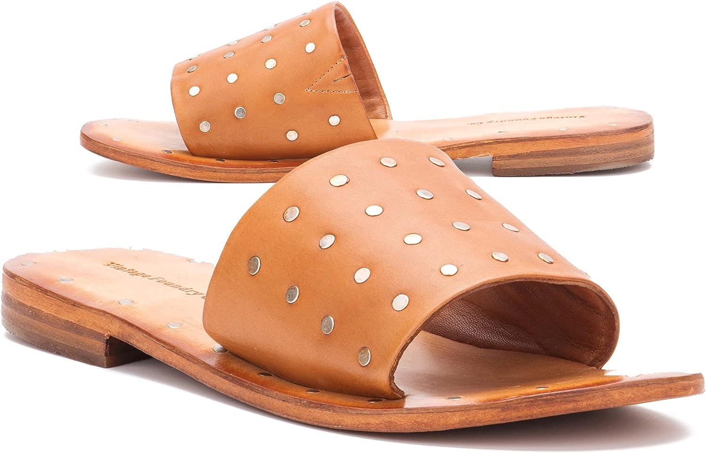 Vintage Foundry Co. Women's Lenore Slide Slip-On Flat Sandal, Round Open Toe, Rubber Outsole