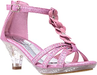 Generation Y Kids Heel Sandals T-Strap Flower Glitter Rhinestone Clear Low Heels Girl Dress Shoes