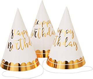 Juvale 12-Pack Gold Foil Happy Birthday Party Cone Hats for Adults and Kids, 4 x 6 Inches