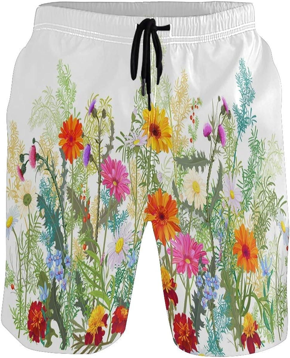 Auskid Gerbera Flowers Field Mens Swim Trunks Quick Dry Board Shorts with Pockets Swimsuit Beach Short