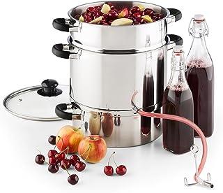 KLARSTEIN Applebee Extractor de Zumo de Vapor eléctrico - 1500 W, Espacio 5 kgs Fruta, Diametro 25 cm, 3 Niveles, Tapa Cri...