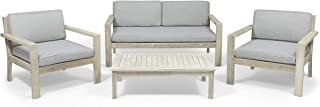 Great Deal Furniture Dominic Outdoor 4 Seater Acacia Wood Chat Set with Cushions, Wire Brushed Light Gray and Light Gray