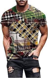 Camisetas Manga Corta Hombre Talla Grande,Stretch Camiseta con Cuello Negro,tee Shirts de Verano con Estampados Geniales,B...