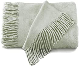 Empress Silk Plush Fringed Throw - Celadon
