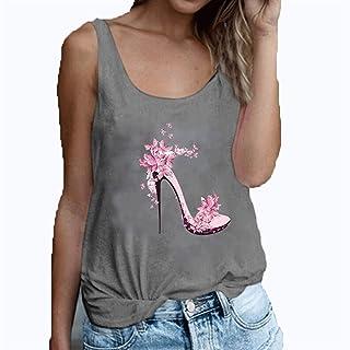 Cami Women Casual Tank Tops Summer Sleeveless Tunic Top Shirt O-neck High Heels Blouse T-Shirt Plus Size Teens (Color : Gr...