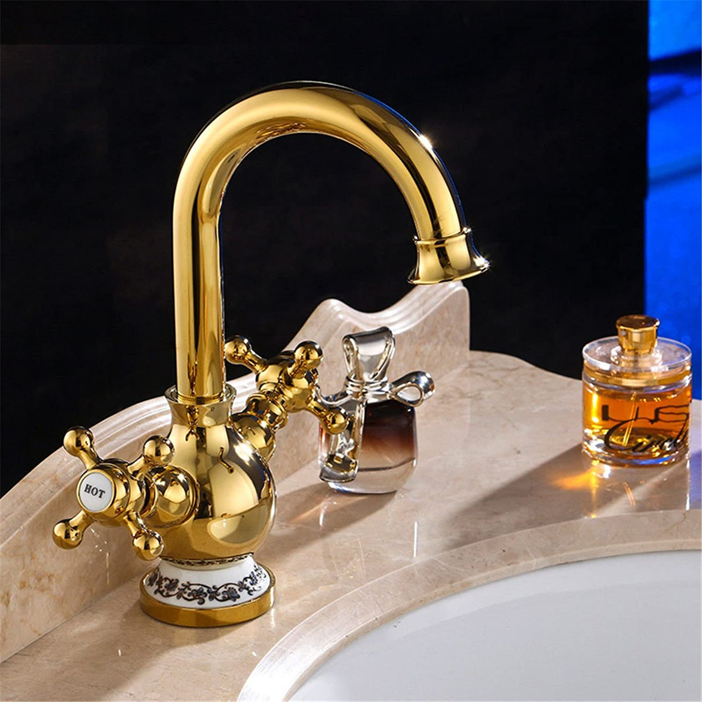 LHbox Basin Mixer Tap Bathroom Sink Faucet Antique brass bathroom basin bathroom sink basin double-take, dual controls, full copper basin faucet and cold water faucet