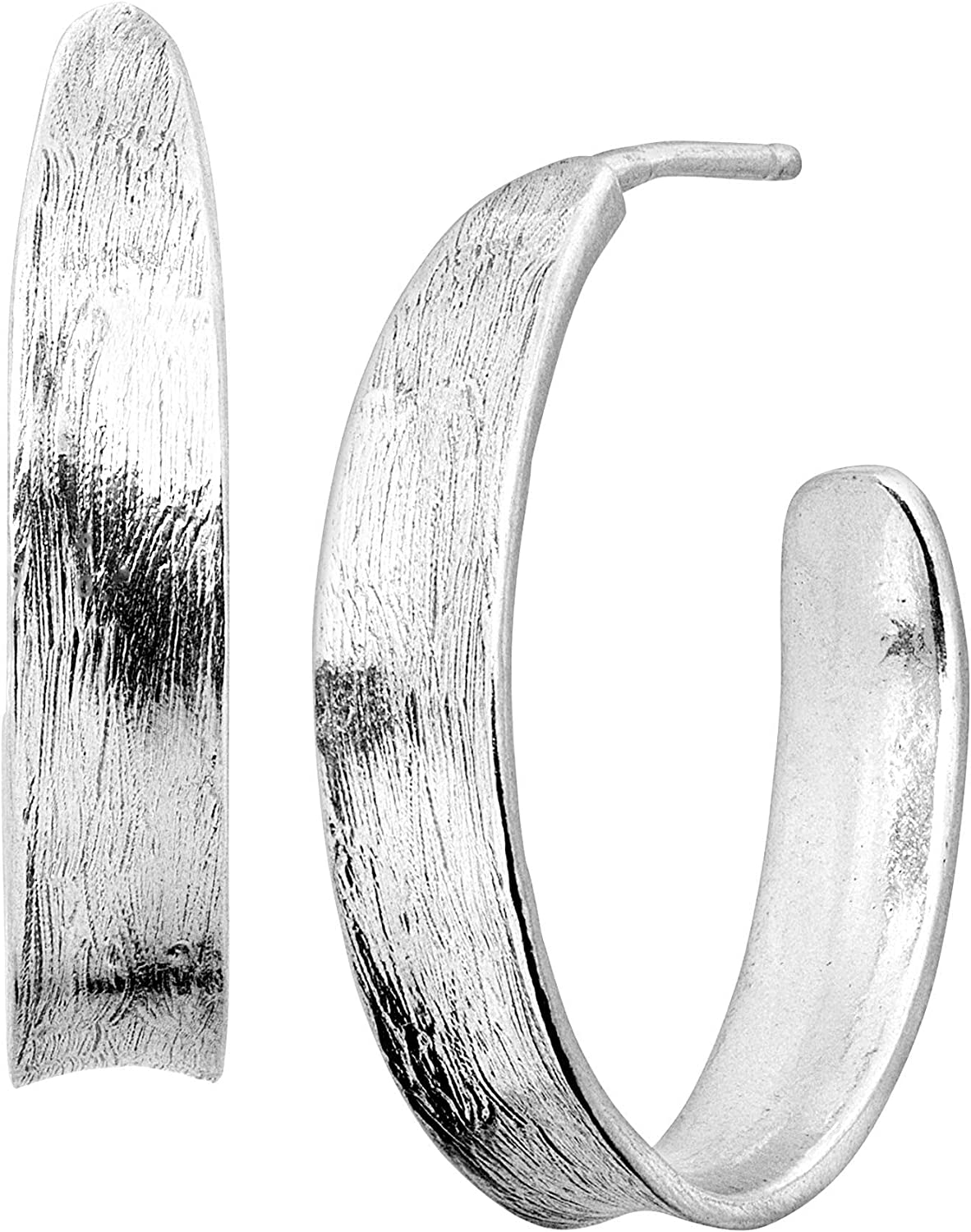 Ranking TOP18 Silpada 'Lune' 3 4 Concave Earrings in Sterling Japan's largest assortment Silver Hoop