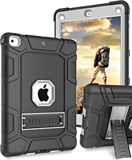 DUEDUE iPad 9.7 Case 2018/2017,iPad 5th/6th Generation Case,3 in 1 Shockproof Drop Protection Kickstand Heavy Duty Hybrid Hard PC Silicone Bumper Full Body Protective Case for Pad 9.7 2018/2017, Black