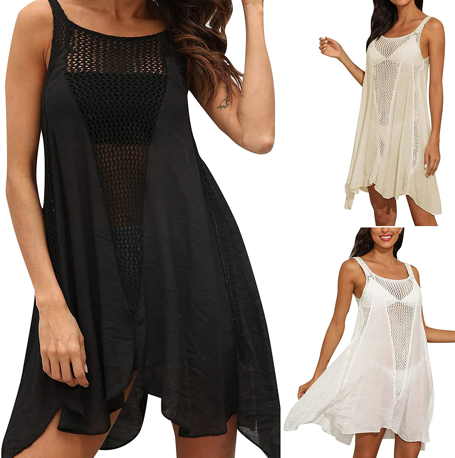 Womens Summer Solid Color Halter Strapless Hollow Out Beach Dress Swimsuit Bathing Suit Swimwear Crochet Cover Up Dress