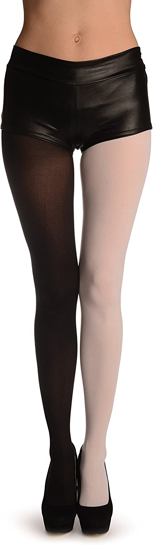 One Leg White & One Leg Black - White Pantyhose (Tights)