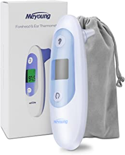 Baby Thermometer - Forehead and Ear Thermometer for Fever by Meyoung - Accurate Dual Mode Basal Medical Digital Body Infrared Thermometers for Baby,Kids,Infant,Toddler and Adult - Temporal Thermometer