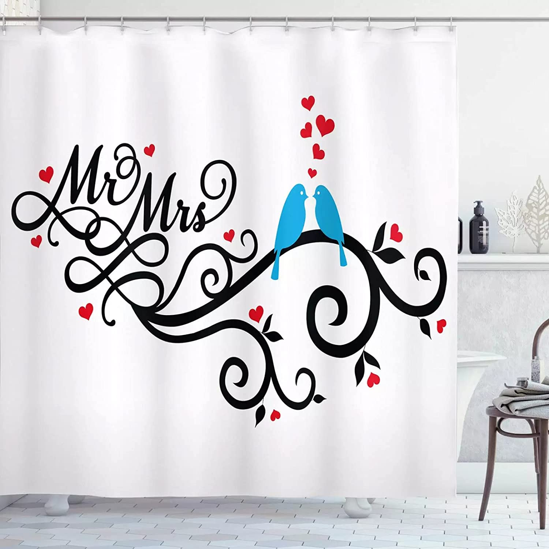 Fmiljiaty Artwork Print Wedding Popular standard Shower Mrs. Curtain Mr. Swirled cheap