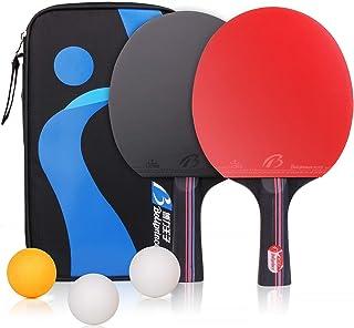 2 Tischtennisschläger Amaza Professionel Tischtennis-Set 3 Tischtennis Bälle