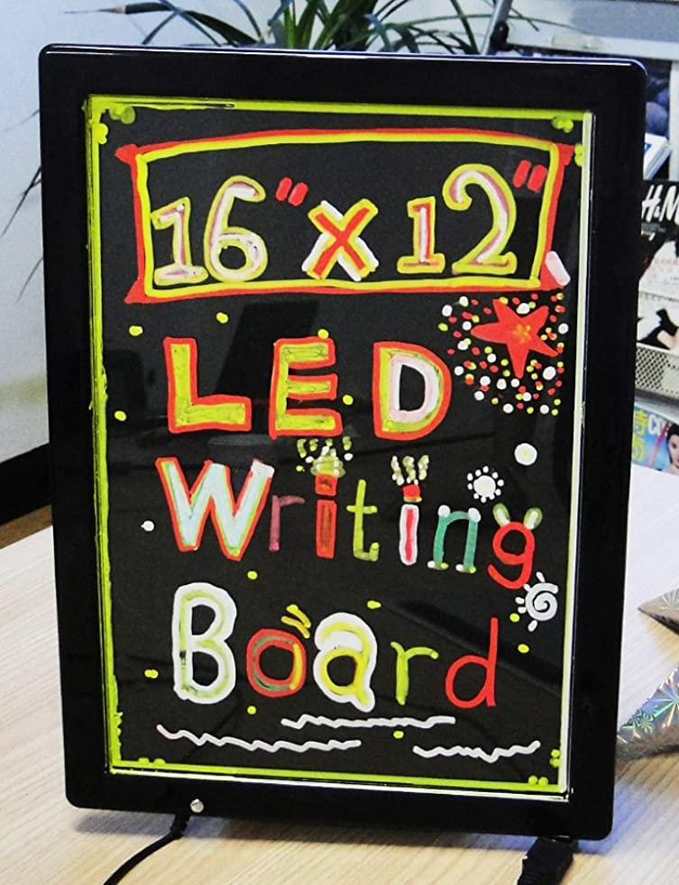 "WER Flashing LED Writing Message Board 16"" X 12"" Illuminated Erasable Neon Menu Writing Board Flashing Neon Board Sign, for Shop and Message Reminding"