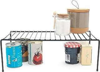 Simplywire - Organizador de armario de cocina, estante de almacenamiento, estante de alambre, color negro