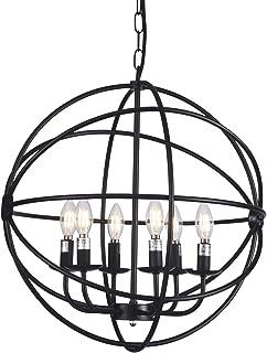 Wideskall 6-Bulbs Industrial Globe Chandelier Lighting Fixture, 20-inch Metal Shade, Matte Black Finish, UL Certificated
